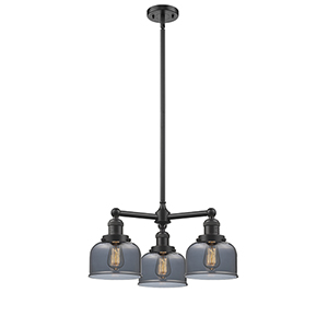 Large Bell Oiled Rubbed Bronze Three-Light LED Chandelier with Smoked Dome Glass