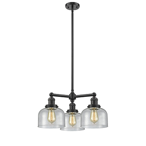 Large Bell Oiled Rubbed Bronze Three-Light LED Chandelier with Seedy Dome Glass