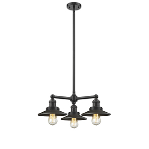 Railroad Oiled Rubbed Bronze Three-Light LED Chandelier