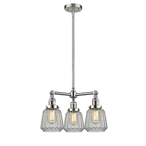 Chatham Brushed Satin Nickel Three-Light Chandelier with Clear Fluted Novelty Glass