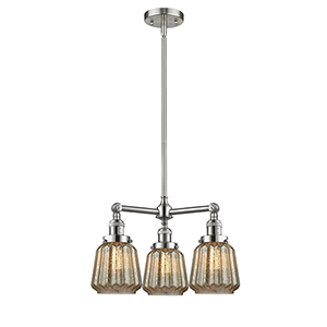 Chatham Brushed Satin Nickel Three-Light LED Chandelier with Mercury Fluted Novelty Glass