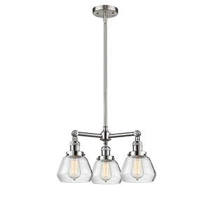 Fulton Brushed Satin Nickel Three-Light Chandelier with Clear Sphere Glass