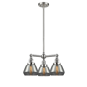 Fulton Brushed Satin Nickel Three-Light LED Chandelier with Smoked Sphere Glass