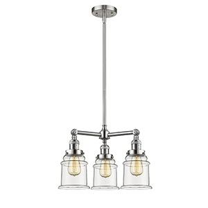 Canton Brushed Satin Nickel Three-Light LED Chandelier with Clear Bell Glass