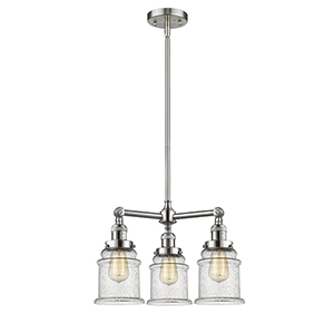 Canton Brushed Satin Nickel Three-Light Chandelier with Seedy Bell Glass
