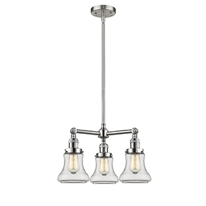 Bellmont Brushed Satin Nickel Three-Light Chandelier with Clear Hourglass Glass