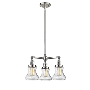 Bellmont Brushed Satin Nickel Three-Light Chandelier with Seedy Hourglass Glass