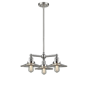 Halophane Brushed Satin Nickel Three-Light Chandelier with Halophane Cone Glass