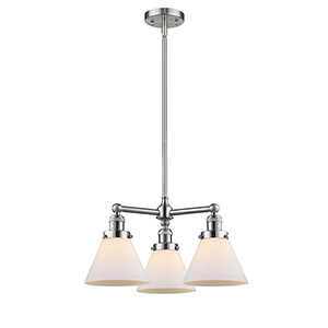 Large Cone Brushed Satin Nickel Three-Light Chandelier with Matte White Cased Cone Glass