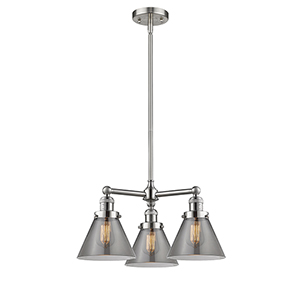 Large Cone Brushed Satin Nickel Three-Light LED Chandelier with Smoked Cone Glass