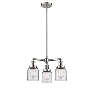 Small Bell Brushed Satin Nickel Three-Light Chandelier with Clear Bell Glass