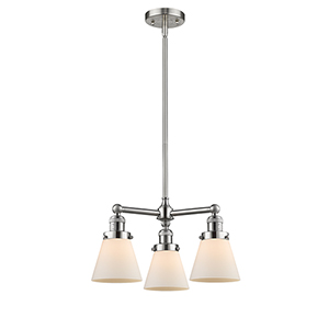 Small Cone Brushed Satin Nickel Three-Light LED Chandelier with Matte White Cased Cone Glass