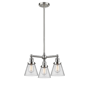 Small Cone Brushed Satin Nickel Three-Light LED Chandelier with Clear Cone Glass