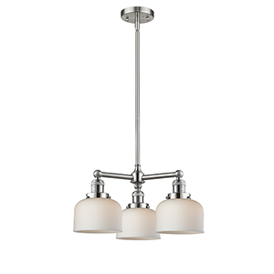 Large Bell Brushed Satin Nickel Three-Light Chandelier with Matte White Cased Dome Glass