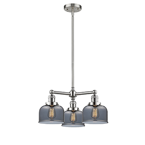 Large Bell Brushed Satin Nickel Three-Light Chandelier with Smoked Dome Glass