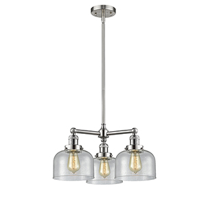 Large Bell Brushed Satin Nickel Three-Light Chandelier with Seedy Dome Glass