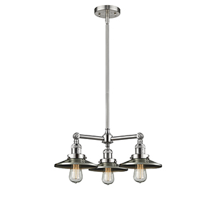 Railroad Brushed Satin Nickel Three-Light Chandelier