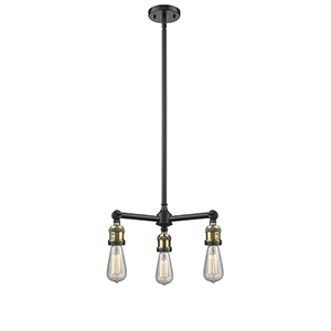 Bare Bulb Black Antique Brass Three-Light LED Chandelier