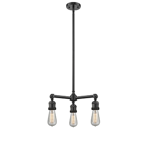 Bare Bulb Oiled Rubbed Bronze Three-Light Chandelier