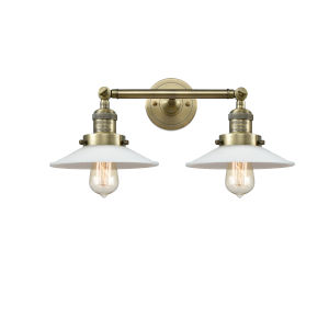Halophane Antique Brass Two-Light Bath Vanity