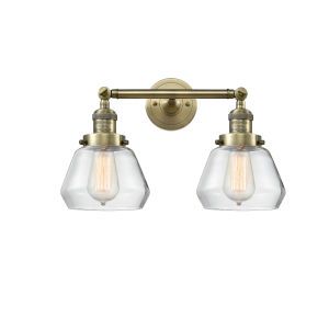 Fulton Antique Brass Two-Light Bath Vanity with Clear Glass