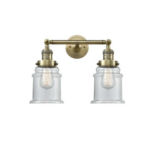 Canton Antique Brass Two-Light Bath Vanity with Clear Glass