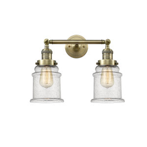 Canton Antique Brass Two-Light Bath Vanity with Seedy Glass