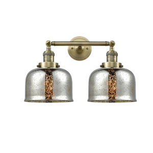 Large Bell Antique Brass 18-Inch Two-Light LED Bath Vanity