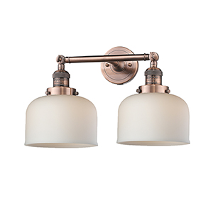 Large Bell Antique Copper Two-Light Bath Vanity with Matte White Cased Dome Glass