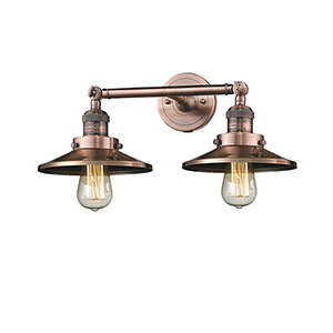 Railroad Antique Copper Two-Light LED Bath Vanity