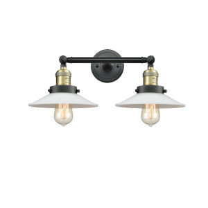 Halophane Black Antique Brass Two-Light Bath Vanity