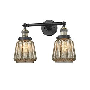 Chatham Black Antique Brass 16-Inch Two-Light LED Bath Vanity with Mercury Fluted Novelty Glass