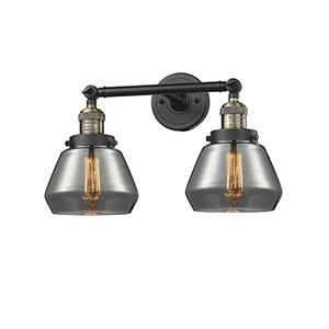 Fulton Black Antique Brass Two-Light Bath Vanity with Smoked Sphere Glass