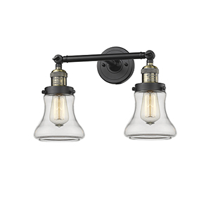 Bellmont Black Antique Brass 17-Inch Two-Light Bath Vanity with Clear Hourglass Glass