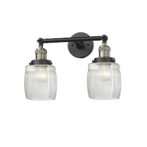 Colton Black Antique Brass Two-Light LED Bath Vanity