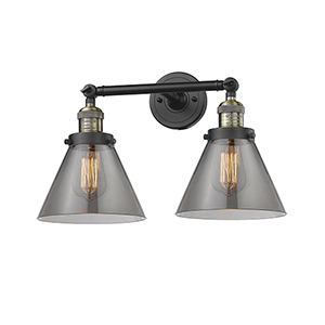 Large Cone Black Antique Brass 18-Inch Two-Light LED Bath Vanity with Smoked Cone Glass