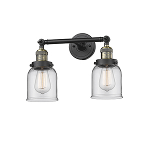 Small Bell Black Antique Brass 16-Inch Two-Light LED Bath Vanity with Clear Bell Glass