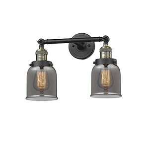 Small Bell Black Antique Brass 16-Inch Two-Light LED Bath Vanity with Smoked Bell Glass