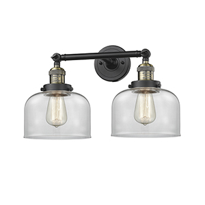 Large Bell Black Antique Brass 19-Inch Two-Light LED Bath Vanity with Clear Dome Glass