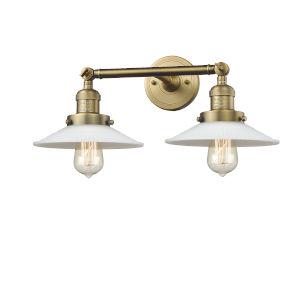 Halophane Brushed Brass Two-Light Bath Vanity
