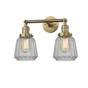 Chatham Brushed Brass Two-Light Bath Vanity with Clear Fluted Novelty Glass