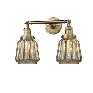 Chatham Brushed Brass Two-Light Bath Vanity with Mercury Fluted Novelty Glass