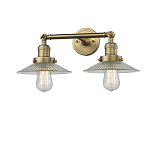 Halophane Brushed Brass Two-Light Bath Vanity with Halophane Cone Glass