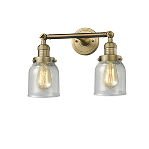 Small Bell Brushed Brass Two-Light Bath Vanity with Seedy Bell Glass