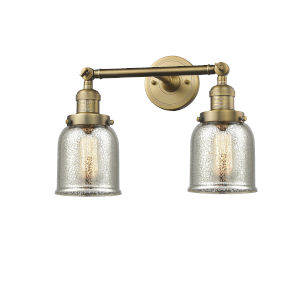 Small Bell Brushed Brass Two-Light Bath Vanity