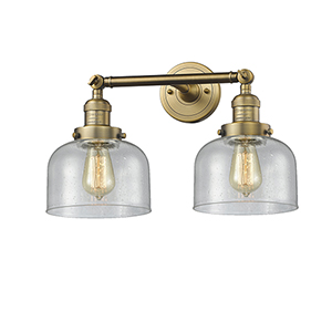 Large Bell Brushed Brass Two-Light Bath Vanity with Seedy Dome Glass