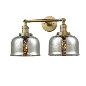 Large Bell Brushed Brass Two-Light Bath Vanity