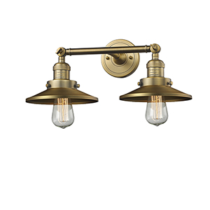 Railroad Brushed Brass Two-Light Bath Vanity