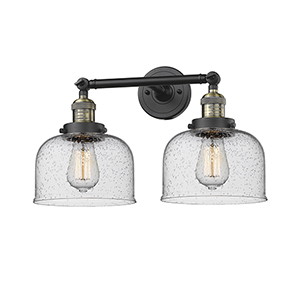 Large Bell Black Brushed Brass Two-Light LED Bath Vanity with Seedy Dome Glass