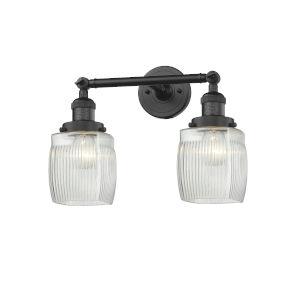 Colton Matte Black Two-Light LED Bath Vanity